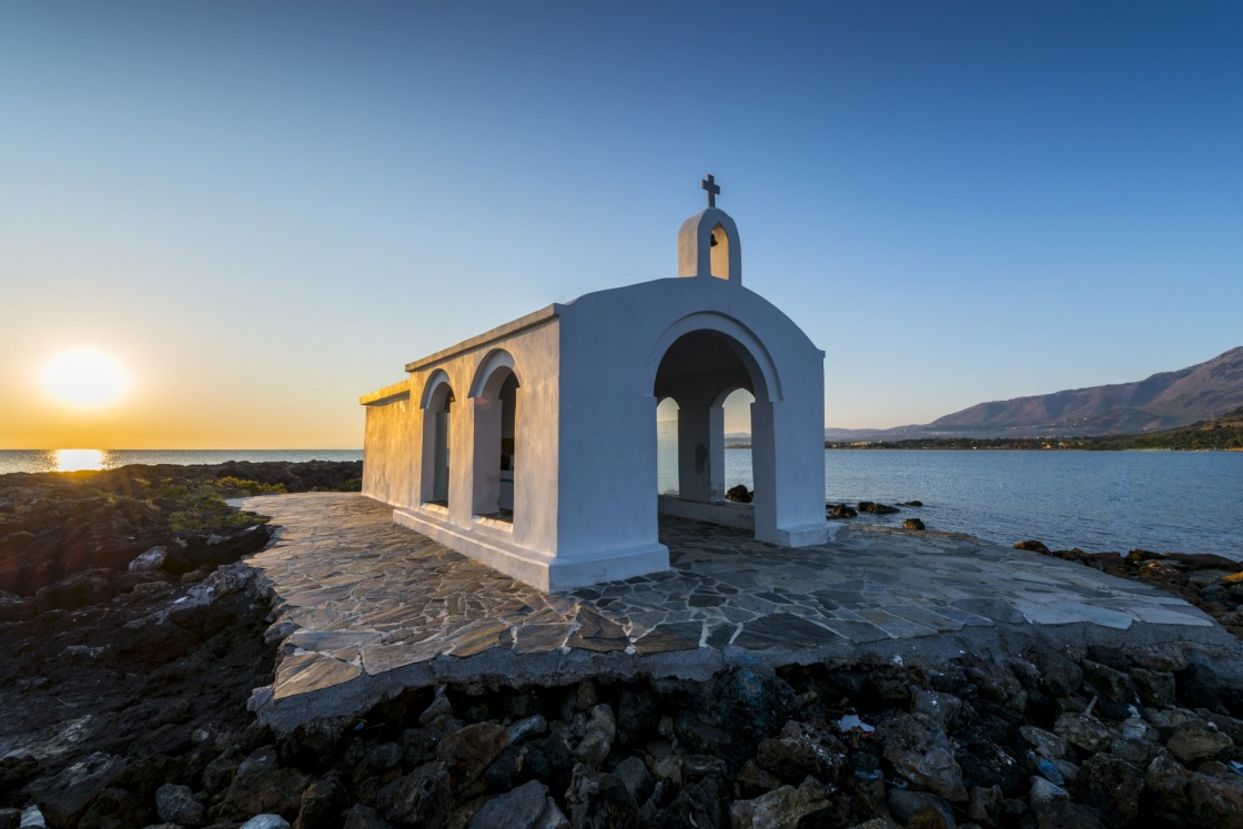 Small White Church By Sunrise in Georgioupolis, Crete, Greece