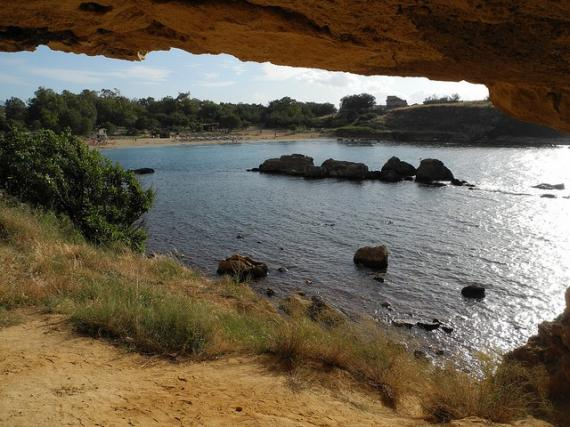 Holy Apostles beach seen from small cave